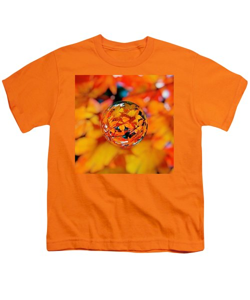 Marbled Orange Maple Leaves Youth T-Shirt