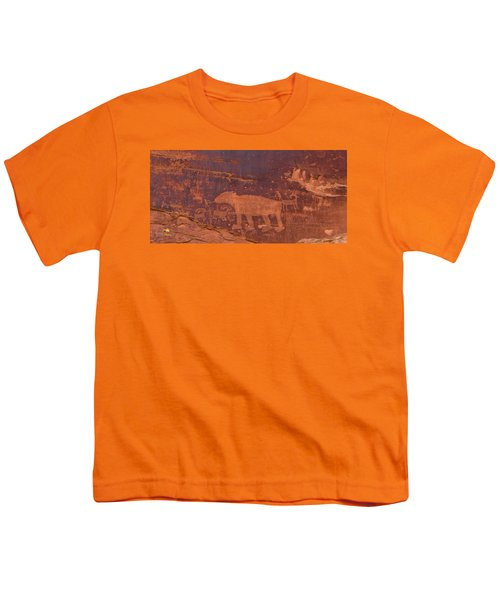 Youth T-Shirt featuring the photograph Ancient Native American Petroglyphs On A Canyon Wall Near Moab. by Jim Thompson