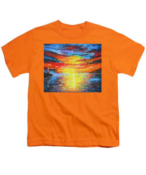 Youth T-Shirt featuring the painting  Lighthouse Sunset Ocean View Palette Knife Original Painting by Georgeta Blanaru