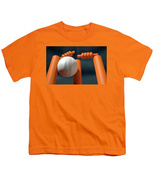 Cricket Ball Hitting Wickets Youth T-Shirt by Allan Swart