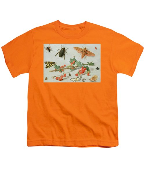A Sprig Of Redcurrants With An Elephant Hawk Moth, A Magpie Moth And Other Insects, 1657 Youth T-Shirt