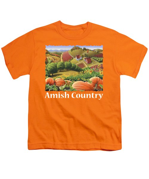 Amish Country T Shirt - Appalachian Pumpkin Patch Country Farm Landscape 2 Youth T-Shirt