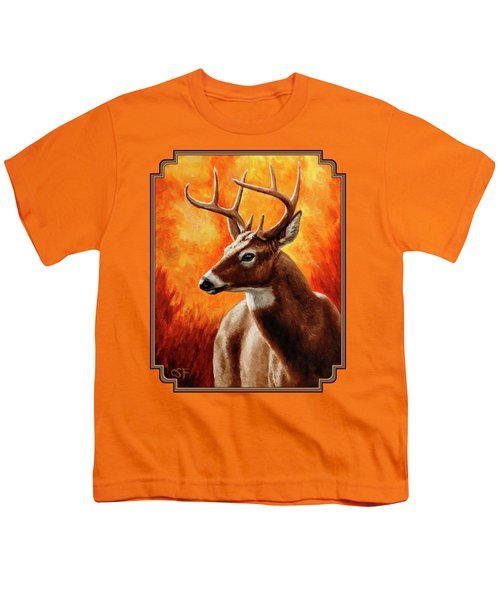 Whitetail Buck Portrait Youth T-Shirt by Crista Forest
