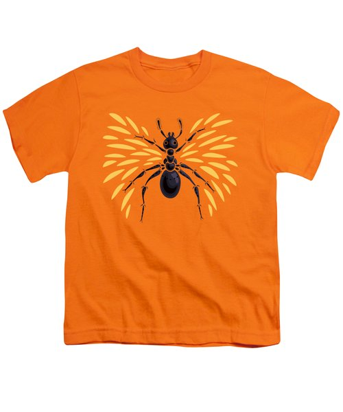 Winged Ant In Fiery Orange Youth T-Shirt