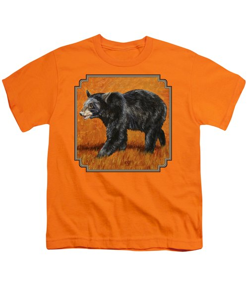 Autumn Black Bear Youth T-Shirt by Crista Forest