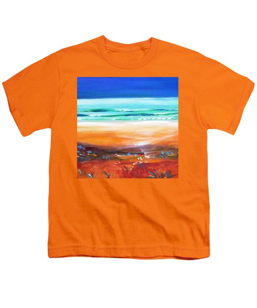 Youth T-Shirt featuring the painting Beach Joy by Winsome Gunning