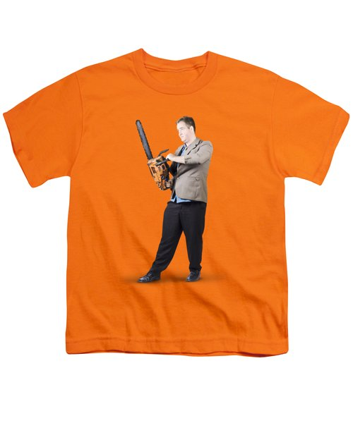 Youth T-Shirt featuring the photograph Businessman Holding Portable Chainsaw by Jorgo Photography - Wall Art Gallery