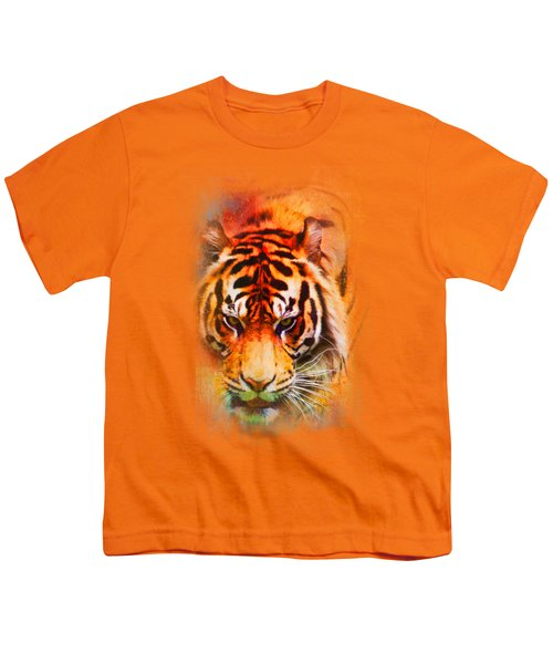 Colorful Expressions Tiger Youth T-Shirt by Jai Johnson