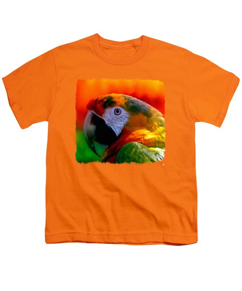 Colorful Macaw Parrot Youth T-Shirt by Linda Koelbel