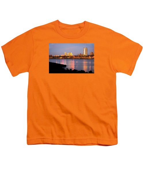 Downtown Tulsa Oklahoma - University Tower View Youth T-Shirt by Gregory Ballos