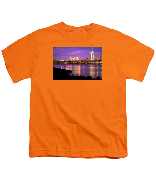 Downtown Tulsa Oklahoma - University Tower View - Purple Skies Youth T-Shirt by Gregory Ballos