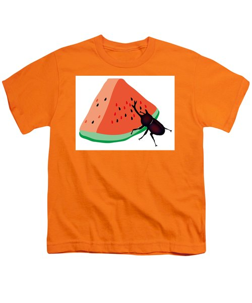 Horn Beetle Is Eating A Piece Of Red Watermelon Youth T-Shirt