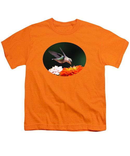 Hummingbird In Flight With Orange Zinnia Flower Youth T-Shirt