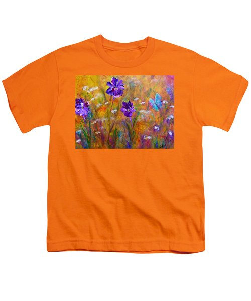 Iris Wildflowers And Butterfly Youth T-Shirt