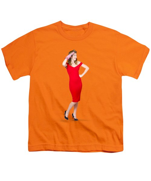 Isolated Female Pin Up Cook On Stove Watch Youth T-Shirt by Jorgo Photography - Wall Art Gallery