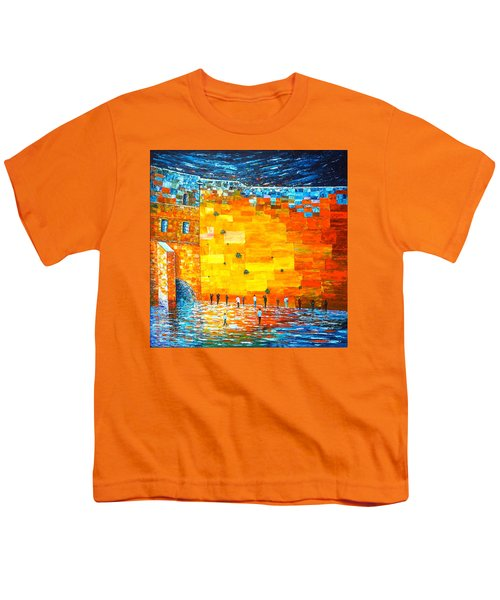 Youth T-Shirt featuring the painting Jerusalem Wailing Wall Original Acrylic Palette Knife Painting by Georgeta Blanaru