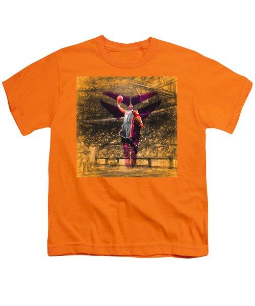 Kobe Bryant Black Mamba Digital Painting Youth T-Shirt by David Haskett