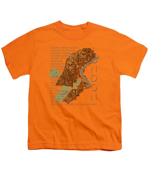 London Classic Map Youth T-Shirt by Jasone Ayerbe- Javier R Recco