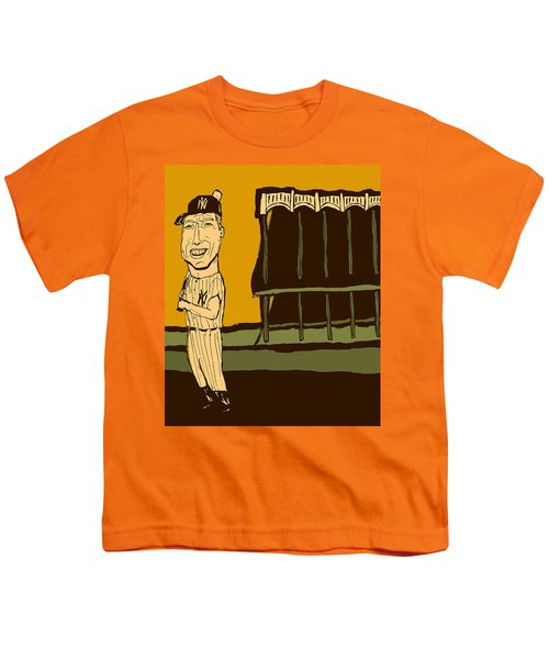 Mickey Mantle Yankee Stadium Youth T-Shirt by Jay Perkins