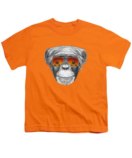 Monkey With Mirror Sunglasses Youth T-Shirt by Marco Sousa