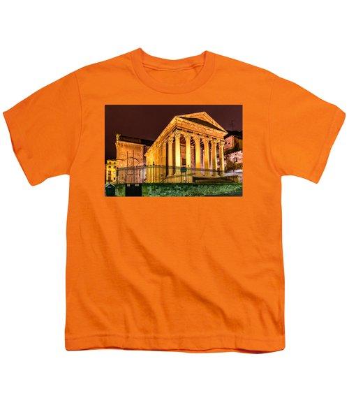 Night At The Roman Temple Youth T-Shirt by Randy Scherkenbach