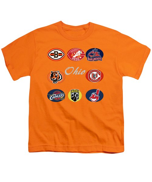 Ohio Professional Sport Teams Collage Youth T-Shirt by Movie Poster Prints