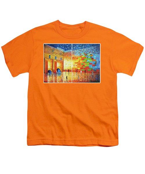 Youth T-Shirt featuring the painting Original Western Wall Jerusalem Wailing Wall Acrylic 2 Panels by Georgeta Blanaru