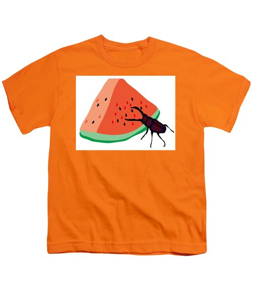 Stag Beetle Is Eating A Piece Of Red Watermelon Youth T-Shirt