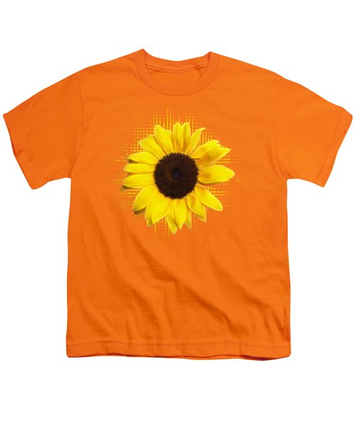 Sunflower Sunburst Youth T-Shirt by Gill Billington