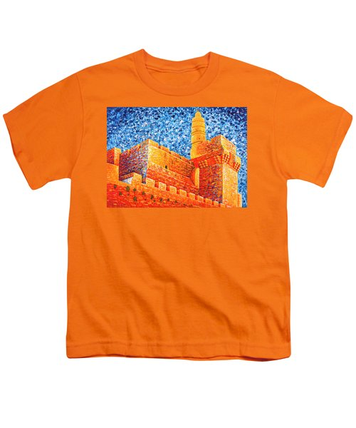 Youth T-Shirt featuring the painting Tower Of David At Night Jerusalem Original Palette Knife Painting by Georgeta Blanaru
