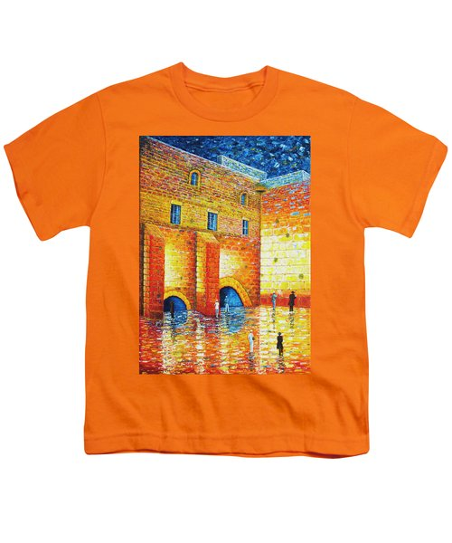 Youth T-Shirt featuring the painting Wailing Wall Original Palette Knife Painting by Georgeta Blanaru