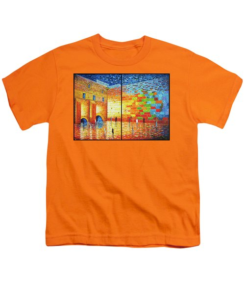 Youth T-Shirt featuring the painting Western Wall Jerusalem Wailing Wall Acrylic Painting 2 Panels by Georgeta Blanaru