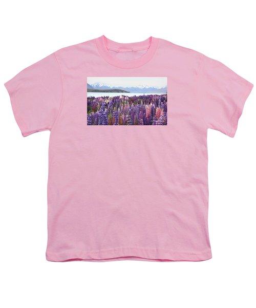 Youth T-Shirt featuring the photograph Lupins At Tekapo by Nareeta Martin