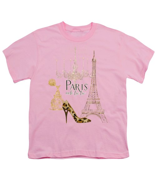 Paris - Ooh La La Fashion Eiffel Tower Chandelier Perfume Bottle Youth T-Shirt by Audrey Jeanne Roberts