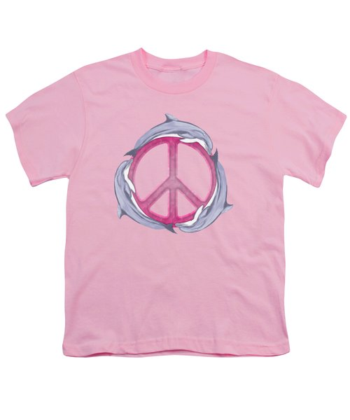 Dolphin Peace Pink Youth T-Shirt by Chris MacDonald