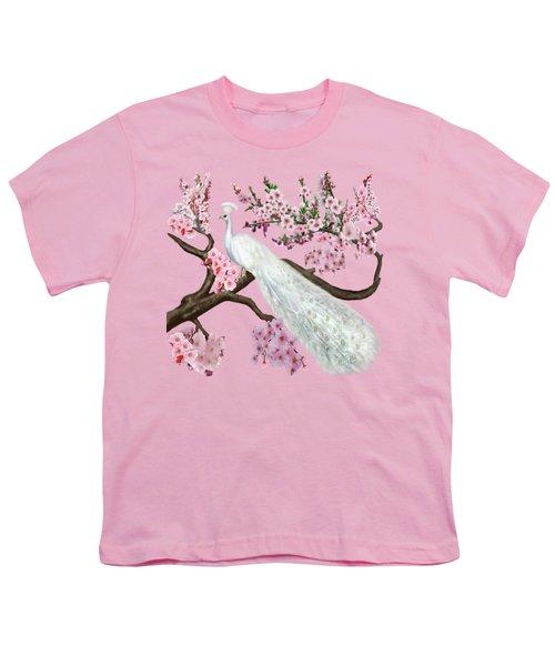 Cherry Blossom Peacock Youth T-Shirt by Glenn Holbrook