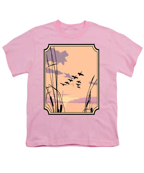 Abstract Ducks Sunset 1980s Acrylic Ducks Sunset Large 1980s Pop Art Nouveau Painting Retro      Youth T-Shirt