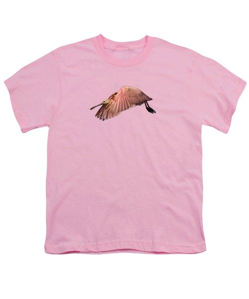 Roseate Spoonbill In Flight Youth T-Shirt by John Harmon