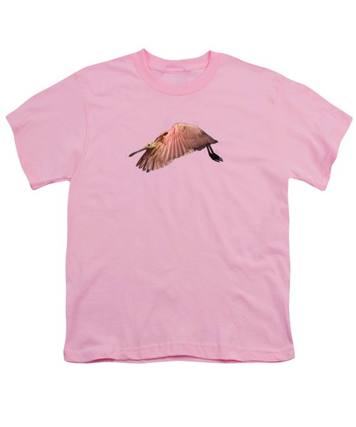 Roseate Spoonbill In Flight Youth T-Shirt