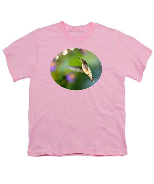 Garden Hummingbird Youth T-Shirt by Christina Rollo