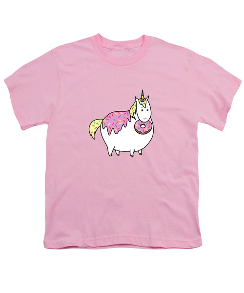Chubby Unicorn Eating Sprinkle Doughnut Youth T-Shirt by Crista Forest