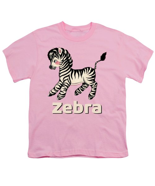 Cute Baby Zebra Pattern Vintage Book Illustration Pattern Youth T-Shirt by Tina Lavoie