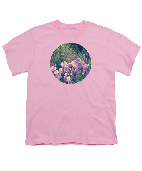 Irises And Roses In The Garden Youth T-Shirt by Mary Wolf