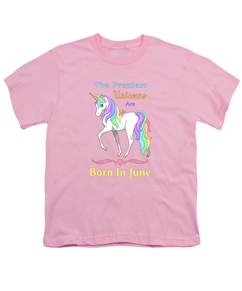Pretty Rainbow Unicorn Born In June Birthday Youth T-Shirt