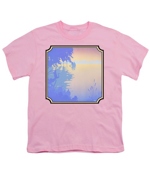Rowing Back To The Boat Dock At Sunset Abstract Youth T-Shirt