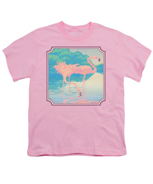 Square Format - Pink Flamingos Retro Pop Art Nouveau Tropical Bird 80s 1980s Florida Painting Print Youth T-Shirt by Walt Curlee