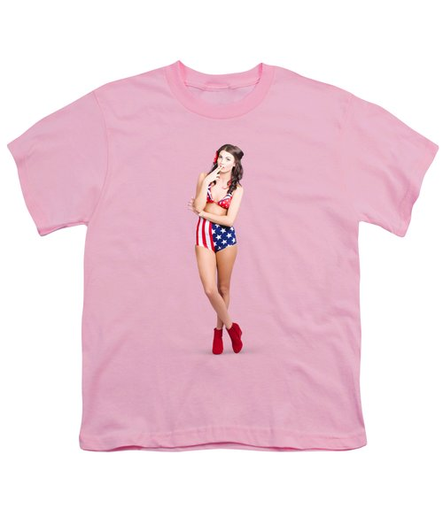 The Classic Pin-up Girl Photo Youth T-Shirt by Jorgo Photography - Wall Art Gallery