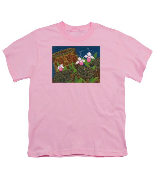 Youth T-Shirt featuring the painting Turtle - Mihkinahk by Chholing Taha