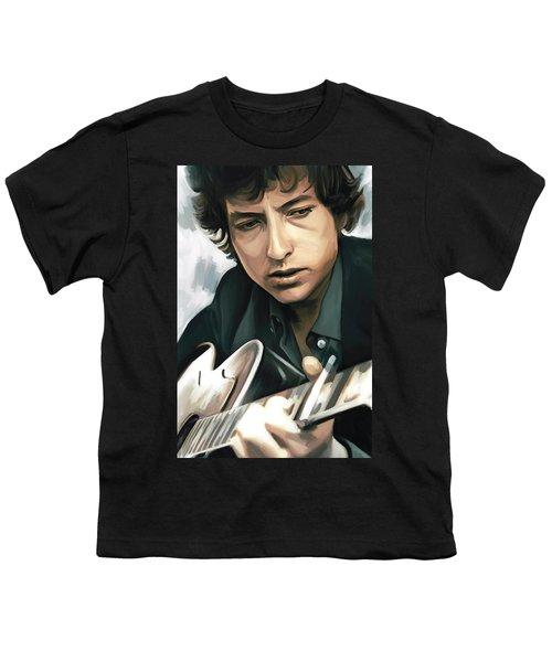 Bob Dylan Artwork Youth T-Shirt by Sheraz A