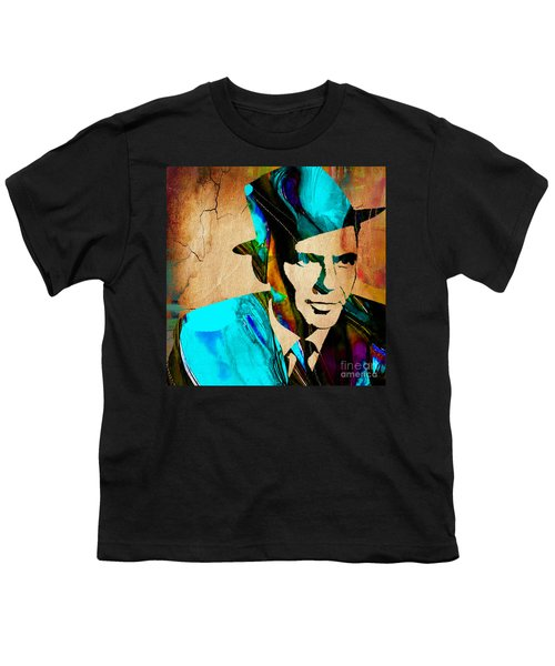 Youth T-Shirt featuring the mixed media Frank Sinatra Paintings by Marvin Blaine